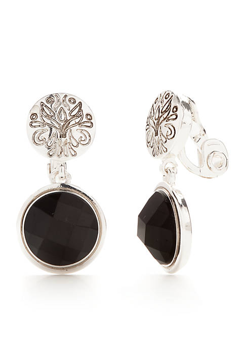 Napier Silver-Tone Double Drop Clip Antique Jet Earrings