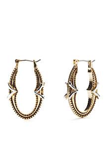 Oval Click It Silver/Gold Hoop Earrings