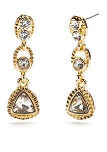 Gold-Tone Crystal Linear Drop Earrings