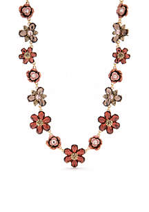 Gold-Tone Flower Collar Necklace