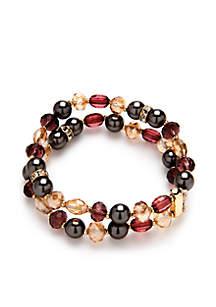 Gold-Tone 2-Row Stretch Bracelet