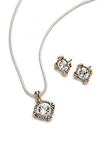 Pendant Necklace and Crystal Stud Earrings Set