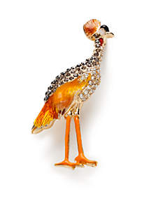 Gold-Tone Boxed Bird Pin