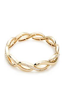 Gold-Tone Crystal Stretch Bracelet