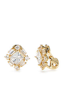 Gold-Tone Cubic Zirconia Cluster Clip Earrings