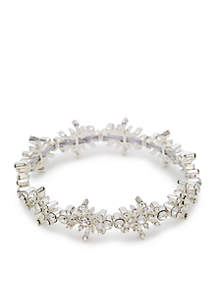 Silver-Tone Glass Snowflake Stretch Bracelet