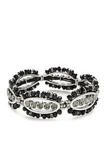 Silver-Tone Stretch Jet Black Bracelet