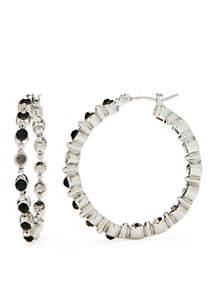 Silver-Tone Jet Hoop Earrings