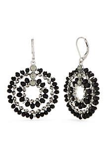Silver-Tone Large Bead Orbital Drop Earrings