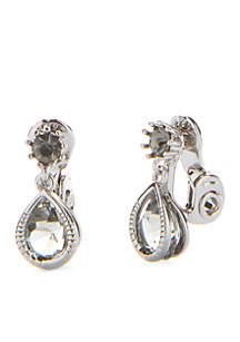 Hematite-Tone Teardrop Clip Earrings