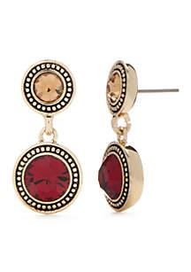 Gold-Tone Glass Double Drop Earrings