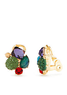 Gold-Tone Cluster Button Clip Earrings