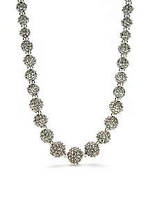 Silver-Tone Ball Collar Necklace