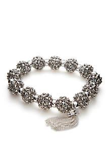 Textured Silver-Tone Stretch Bracelet