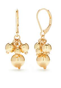Gold-Tone Cluster Drop Earrings