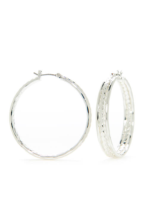 Large Silver-Tone Shiny Hoop Earrings