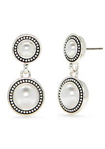 Silver-Tone Double Drop Pearl Earrings