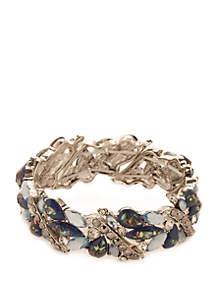 Silver-Tone and Blue Stretch Bracelet