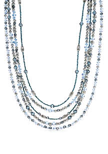 Silver-Tone Multi Row Beaded Necklace