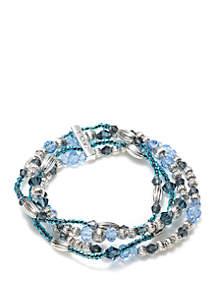 Silver-Tone Multi Row Stretch Bracelet