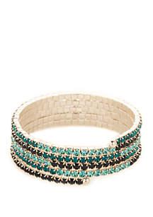 Silver-Tone Blue Stone Coil Stretch Bracelet