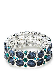 Napier Silver-Tone and Blue Stretch Bracelet