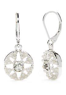 Silver-Tone Circle Drop Earrings