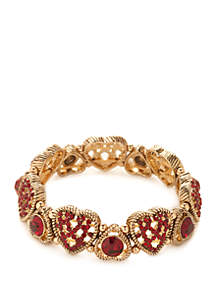 Gold-Tone Glass Heart Stretch Bracelet