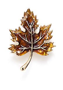 Gold-Tone Fall Leaf Pin