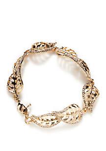 Gold-Tone Leaf Flex Bracelet