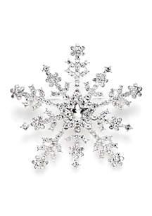 Silver-Tone Crystal Snowflake Pin