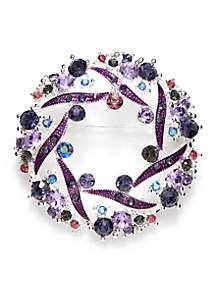 Silver-Tone Multi Crystal Holiday Wreath Pin