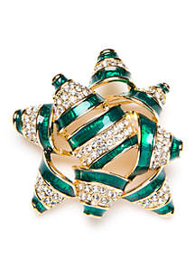 Gold-Tone Crystal Gift Bow Pin