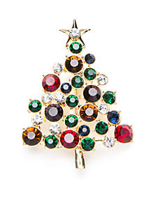 Gold-Tone Multi Crystal Christmas Tree Pin