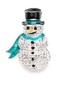 Silver-Tone Crystal Snowman Pin