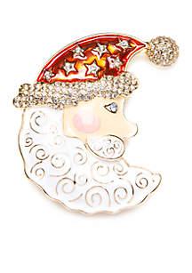 Gold-Tone Moon Santa Boxed Pin