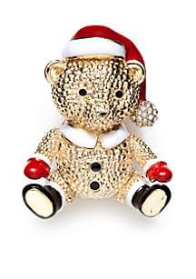 Gold-Tone Santa Teddy Holiday Pin