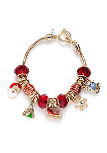 Gold-Tone Holiday Charm Bracelet