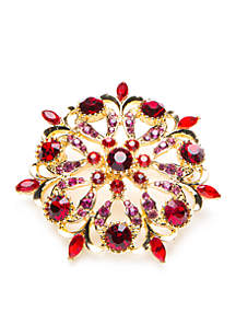 Gold-Tone Stone Broach Boxed Pin
