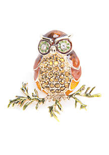 Gold-Tone Crystal Owl Pin