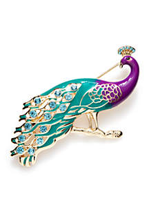 Gold-Tone Peacock Pin
