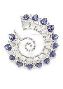Silver-Tone Stone Swirl Pin