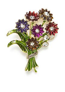 Gold-Tone Flower Bouquet Pin