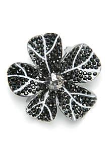 Hematite-Tone Crystal Flower Pin