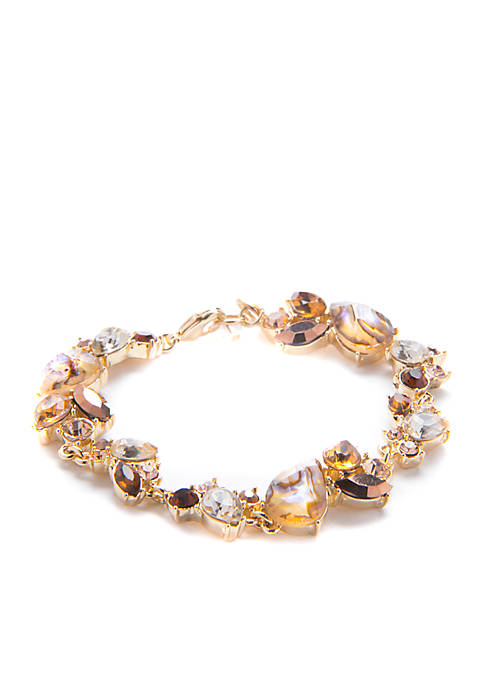 Gold Tone Stone Cluster Flex Bracelet