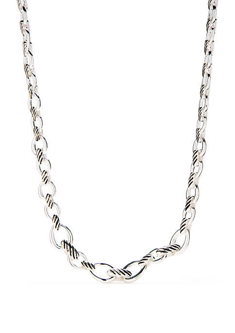 Silver Tone Collar Link Necklace