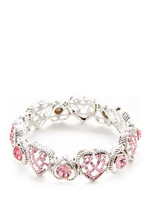 Silver-Tone Glass Heart Stretch Bracelet