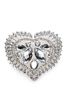 Boxed Silver-Tone Heart Pin