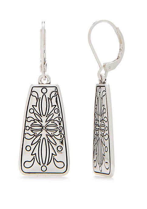 Silver-Tone Antique Square Drop Earrings