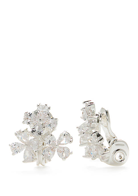 Napier Silver-Tone Cubic Zirconia Cluster Button Clip Earrings